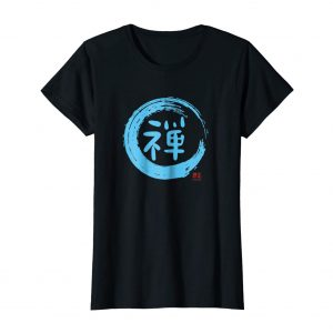 Cool Japanese Shirt – Zen Enso Circle – Black Womens