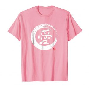Love Japanese Kanji Shirt - Pink Mens