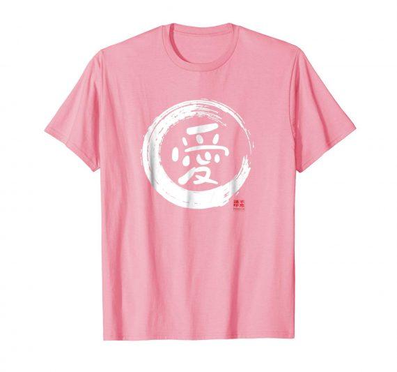 Love Japanese Kanji Shirt - Pink Mens