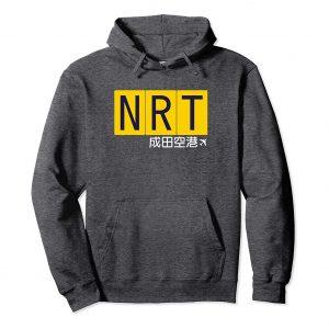 NRT Narita Airport Code Japanese Hoodie - Dark Heather