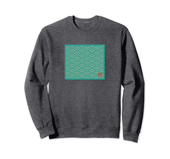 Seigaiha Wave Pattern Japanese Sweatshirt - Dark Heather